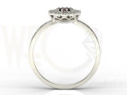 Diamond & garnet 14ct white gold ring JP-95B