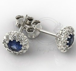 Diamond & sapphire 14ct white gold earrings APK-42B 0,10ct H/Si