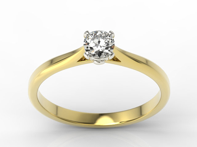 Diamond solitaire 14ct gold engagement ring AP-3530ZB