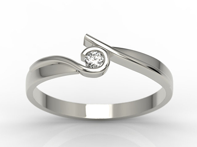 Diamond solitaire 14ct white gold ring 0,06 ct H/Si  AP-3206B