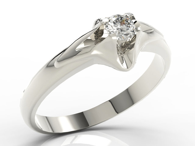 Diamond solitaire 14ct white gold ring AP-1316B 0,16ct