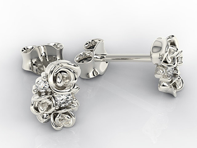 Diamonds 14ct white gold earrings 0,06 ct APK-39B- posts