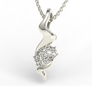 Diamonds 14ct white gold pendant LPW-20B
