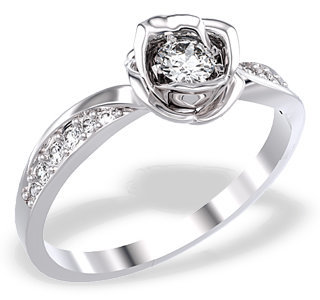 Diamonds 14ct white gold ring in the shape of a rose LP-4221B