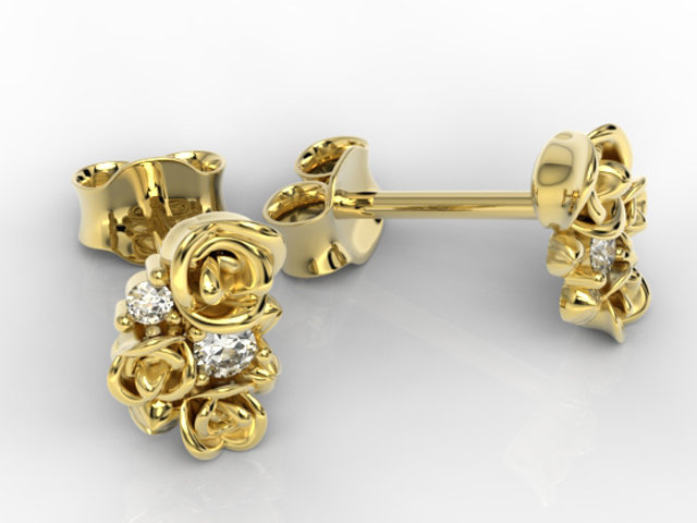 Diamonds 14ct yellow gold earrings 0,06 ct APK-39Z- posts