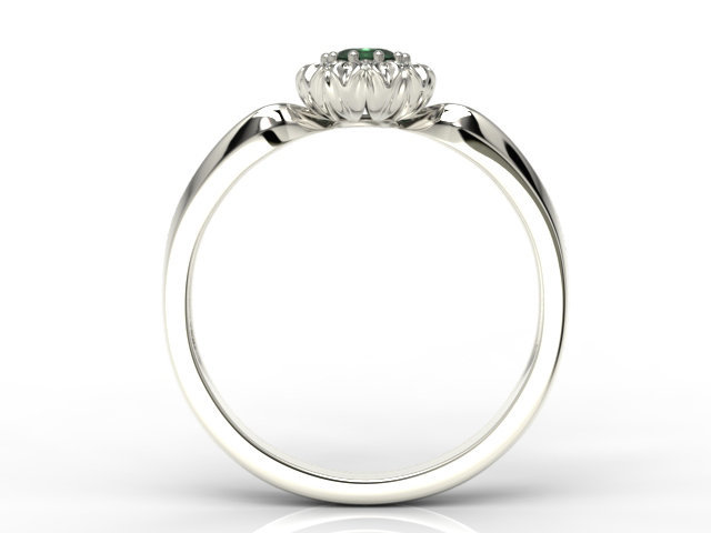Diamonds & emerald 14ct white gold ring AP-42B