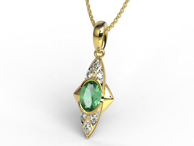 Diamonds & emerald 14ct yellow gold pendant APW-80Z-R