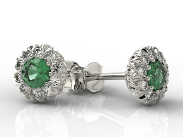 Diamonds & emeralds 14ct white gold earrings APK-42B