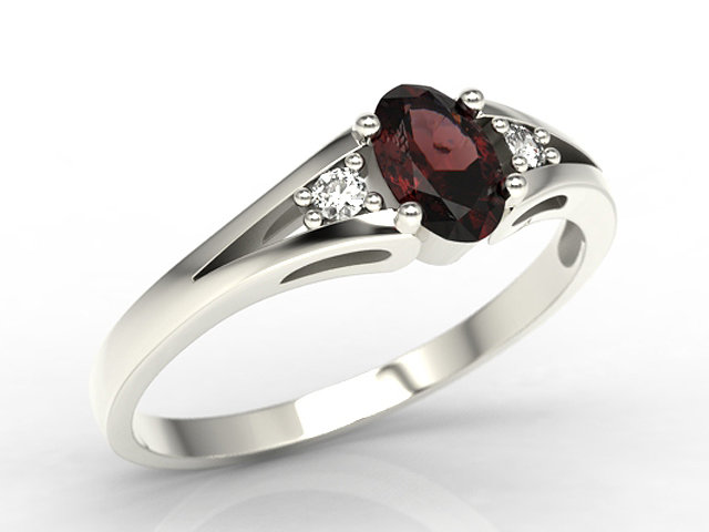 Diamonds & garnet, white gold ring JP-22B