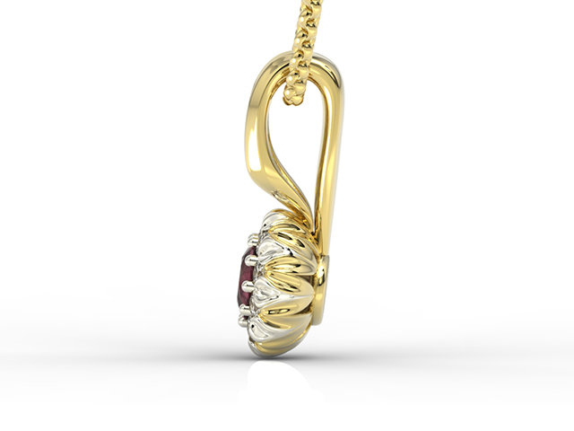 Diamonds & ruby 14ct yellow & white gold pendant APW-42ZB