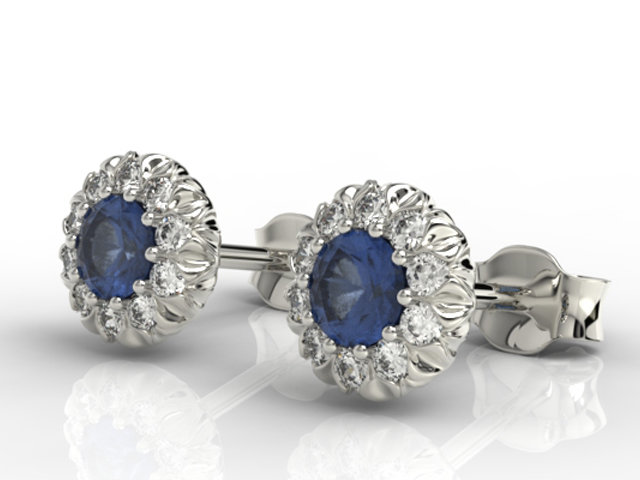Diamonds & sapphires 14ct white gold earrings APK-42B