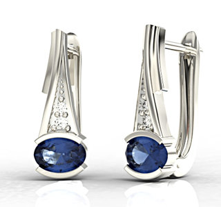 Diamonds & sapphires 14ct white gold earrings JPK-27B