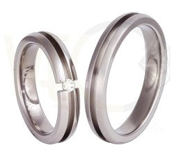 Pair of the titanium wedding rings with a zirconia SWT-65/4
