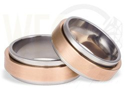 Pair of the titanium wedding rings with red gold SWTRG-27/8