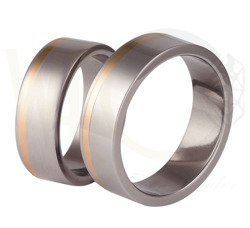 Pair of the titanium wedding rings with red gold SWTRG-32/7
