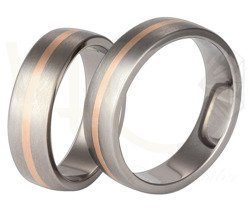 Pair of the titanium wedding rings with red gold SWTRG-44/6