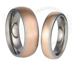 Pair of the titanium wedding rings with red gold SWTRG-57/5,5