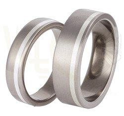 Pair of the titanium wedding rings with silver SWTS-33/5