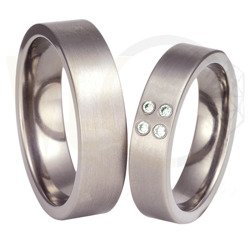 Pair of the titanium wedding rings with the zirconias SWT-37/6