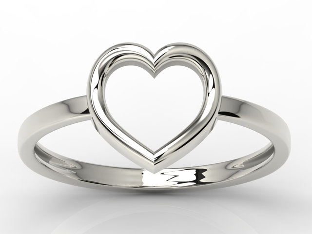 Silver ring in the shape of the heart AP-S-50