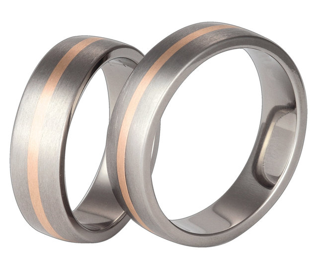 Titanium wedding ring with red gold SWTRG-446-k