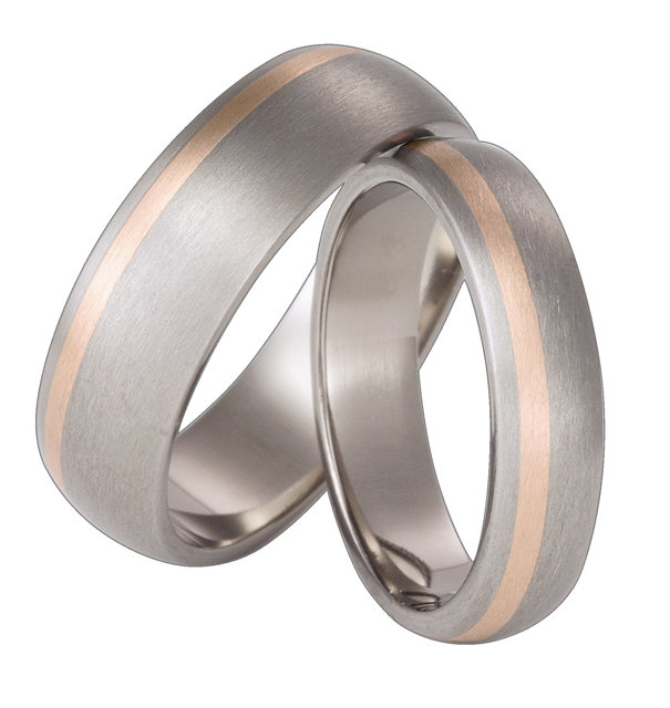 Titanium wedding ring with red gold SWTRG-63/5-k