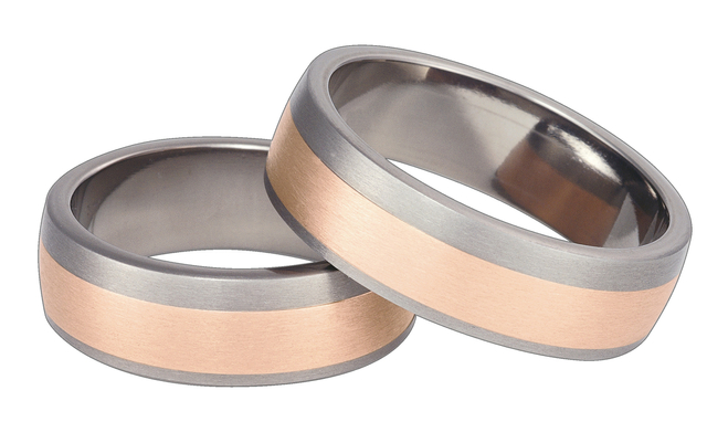 Titanium wedding ring with red gold SWTRG-69/7-k