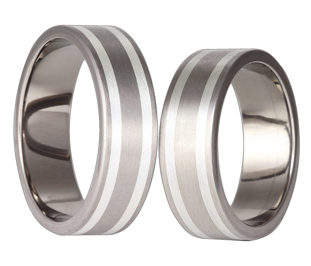 Titanium wedding ring with silver SWTS-31/7-m