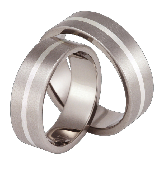 Titanium wedding ring with silver SWTS-42/7-m