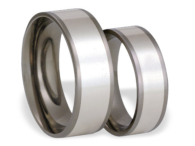 Titanium wedding ring with silver SWTS-55/6-k