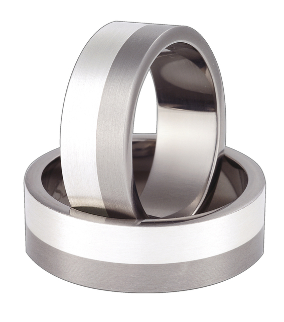 Titanium wedding ring with silver SWTS-58/7-m