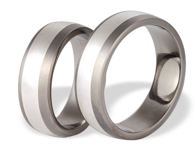 Titanium wedding ring with silver SWTS-69/7-k