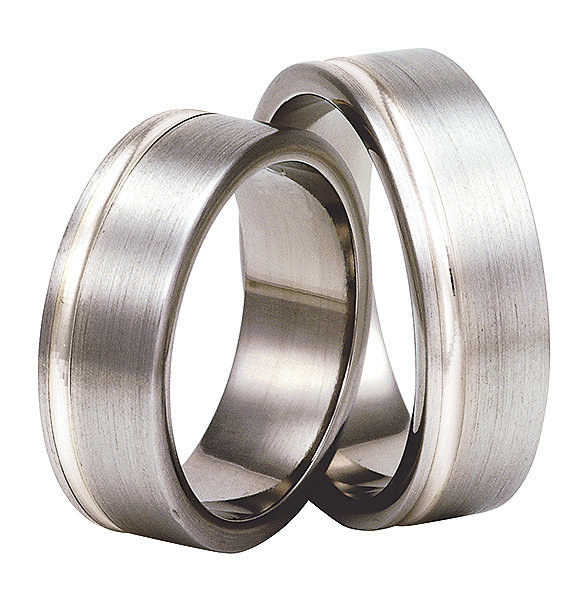 Titanium wedding ring with silver SWTS-72/7-k