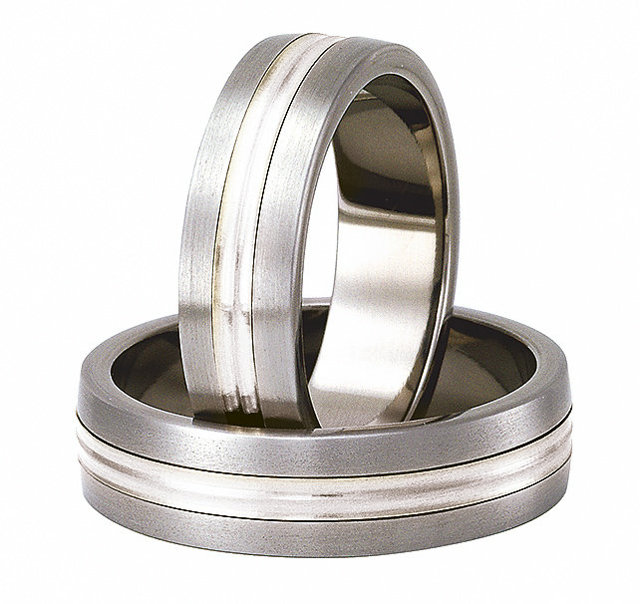 Titanium wedding ring with silver SWTS-79/6-k