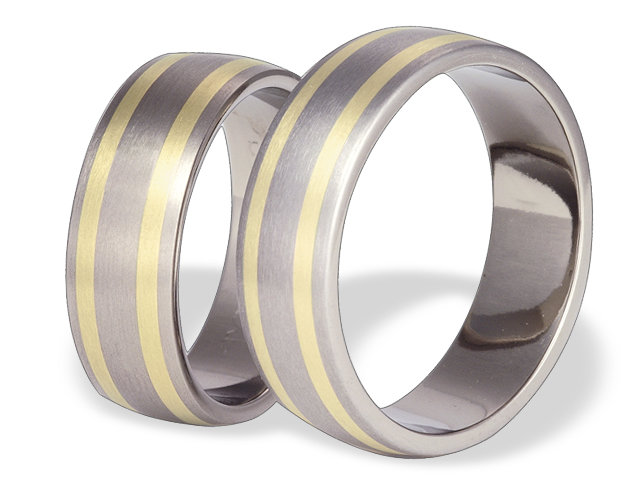 Titanium wedding ring with yellow gold SWTG-53/7-k