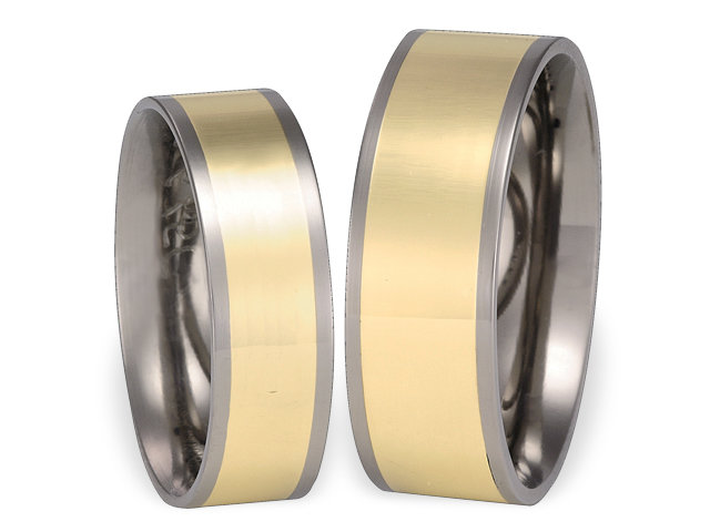 Titanium wedding ring with yellow gold SWTG-55/6-k