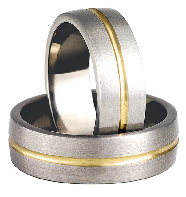 Titanium wedding ring with yellow gold SWTG-74/7-k