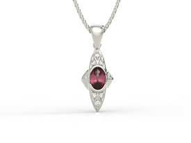 Diamonds & rubis 14ct white gold pendant APW-80B