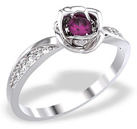 Diamonds & ruby 14ct white gold ring in the shape of a rose LP-4221B