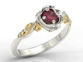 Diamonds & ruby, 14ct yellow & white gold ring in shape of rose LP-7730BZ