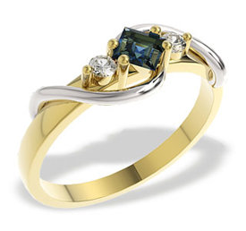 Diamonds & sapphire 14ct white & yellow gold ring LP-32ZB