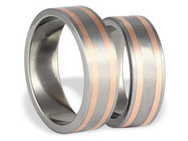 Titanium wedding ring with red gold SWTRG-31/7-k