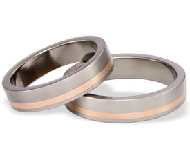 Titanium wedding ring with red gold SWTRG-33/5-k