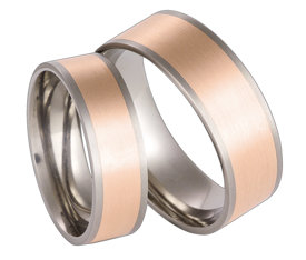 Titanium wedding ring with red gold SWTRG-55/6-k