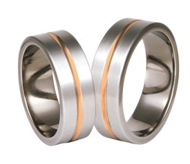 Titanium wedding ring with red gold SWTRG-73/7-k
