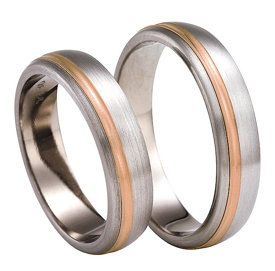 Titanium wedding ring with red gold SWTRG-77/5-k