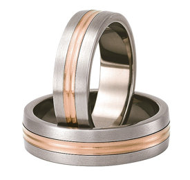 Titanium wedding ring with red gold SWTRG-79/6-k
