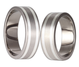 Titanium wedding ring with silver SWTS-31/7-k