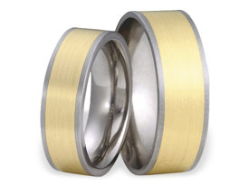 Titanium wedding ring with yellow gold SWTG-56/8-k
