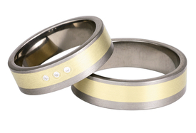 Titanium wedding ring with yellow gold SWTG-68/7-k